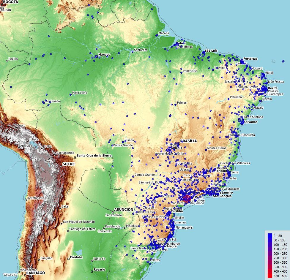 Mapa do Brasil gerado a partir do Orange3 com a indicação de quantidade de mortos pelo COVID-19, atualizado até 13/04/2020.