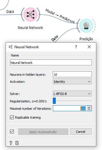 Configuração da rede neural para a soma de 2 números